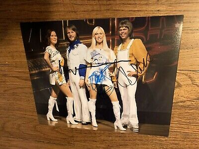 Abba Band Signed 8 X 10 Autographed Personalized To Caleb All Members Rare!