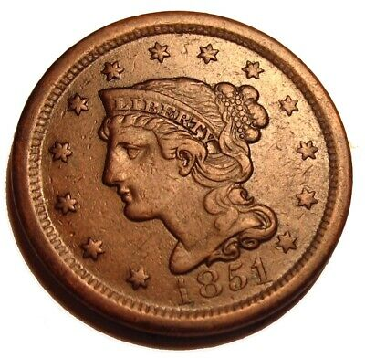 Old Us Coins 1851 Large Cent Penny Early Copper Beauty