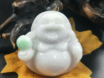 Chinese Hand-carved aristocratic wearing Jadeite jade Green Buddha pendant