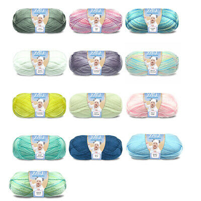 100g 3 Ply Baby Yarn Hypoallergenic Super Soft Yatsal Knitting Solid Multi Colou