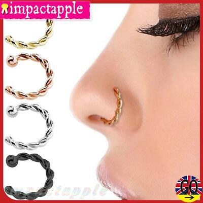 UK⚑ Twist Fake Nose Rings Lip Rings Small Body None Piercing Surgical Steel Hoop
