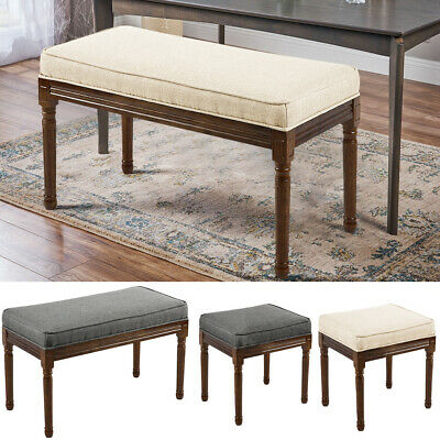 Retro Bed End Stool Fabric Padded Bedroom Rectangular Shoe Bench Piano Chairs uk