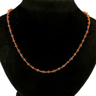 "Solid 925 Sterling Silver Jewelry Beads Carnelian 18+2"" Gift Necklace SN1859"