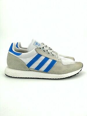 adidas Mens Forest Grove Trainers UK Size 9 Cream/Blue Pre-owned