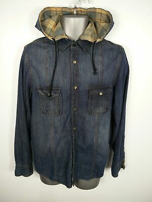 Mens Brave Soul Dark Blue Wash Button Up Hooded Denim Shirt Jacket Size S Small