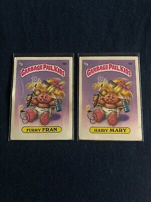 1985 OS1: #12a & #12b Furry Fran & Hairy Mary Garbage Pail Kids