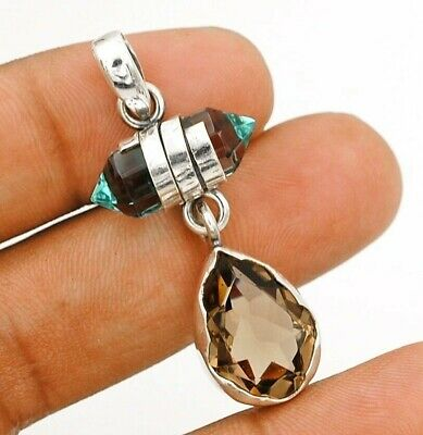 Natural 12CT Smoky Topaz 925 Solid Sterling Silver Pendant Jewelry EA22-5