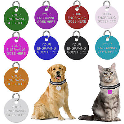 Personalised Pet Tags Engraved Dog Cat Charm Round Name Collar Animal ID Disc UK