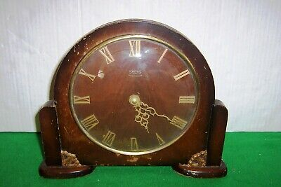 Wooden Mantle Clock with Smiths Clockwork 8 Day Mechanism Circa 1950's