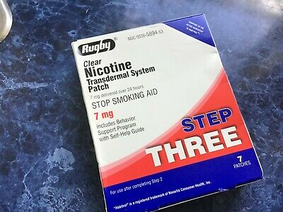 RUGBY Clear NICOTINE Transdermal System Patch 7mg STEP THREE