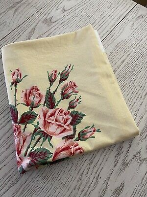 """Vintage Yellow Cotton Tablecloth With Salmon Pink Roses 44"""" X 52"""""""
