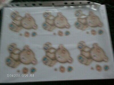 1xsheet of teddy bears and 3x sheets of blue spotty backing card