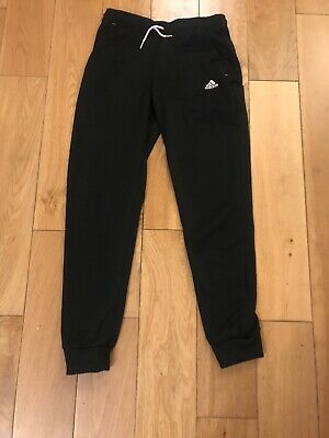 Girls Adidas Black Tracksuit Bittoms With Pink Logo Age 11-12