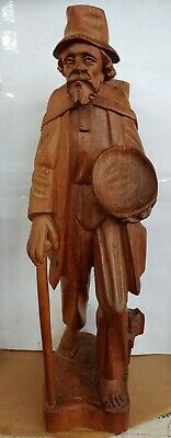 """Vintage Hand Carved Wooden Folk Art Statue Of A Traveling Old Man With Dog 16"""""""