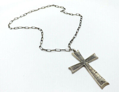 Vintage Large Silver Sand Cast Cross Hand Wrought Chain Link Necklace, 22""