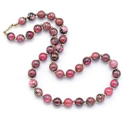Vintage 14K Yellow Gold Pink Rhodonite Beaded Strand Necklace 73.3 Grams 19.75""