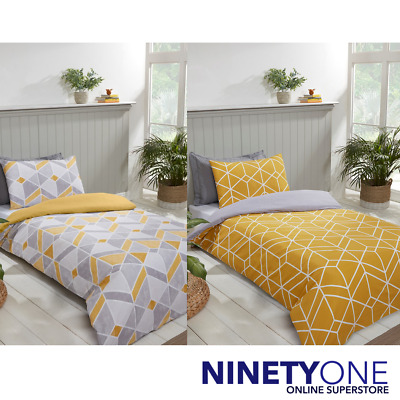 GEO TRIANGLE DUVET COVER SET BEDDING TEAL GREY MUSTARD OCHRE SINGLE DOUBLE KING