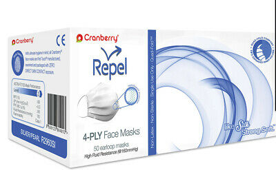 100 Cranberry Repel ASTM Level 3 SURGICAL MEDICAL Earloop Face Mask 4-Ply PEARL