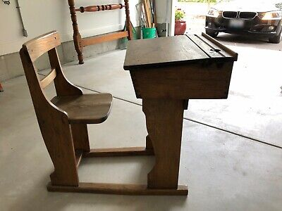 ANTIQUE UNIQUE SCHOOL DESK FITS CHILD TO ADULT with Sliding and Opening Desktop