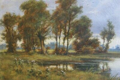 An Original Early 20th Century Oil Painting of a Lake by Joseph Pike, dated 1914