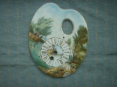 Old Antique French Ceramic Palette Clock Front Hand Painted c.1880 for repair