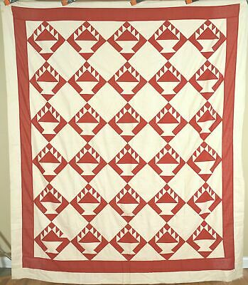 CLASSIC Vintage 1880's Red & White Baskets Antique Quilt Top ~Great Design!