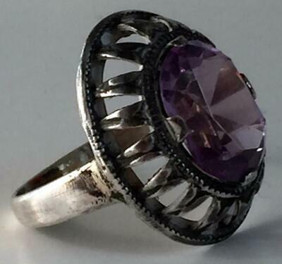 FABERGE Antique Imperial RUSSIAN Ring with Amethyst stone , 84 silver.