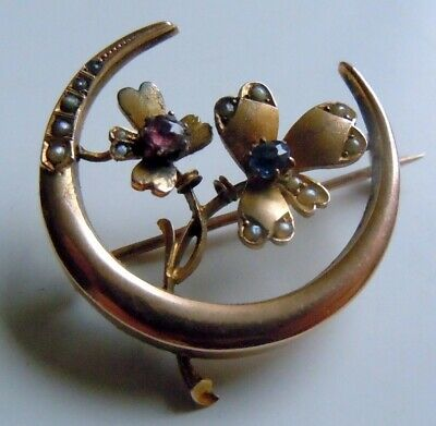 FABERGE Antique Imperial RUSSIAN Gold Brooch with Sapphire, Ruby & natural Pears