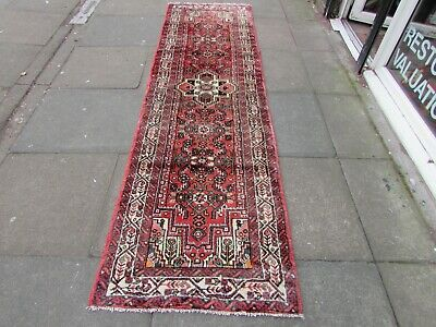 Vintage Traditional Hand Made Oriental Blue Pink Red Wool Long Runner 282x79cm