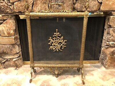 ANTIQUE FRENCH FIREPLACE BRONZE LOUIS XV ORMOLU FIRE SCREEN 19th Century