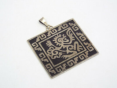 Vintage Taxco Messico Sterling Overlay Geometrico Pre Colombiana Pendente con,