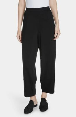 $358 Eileen Fisher Women's Black Stretch Terry-Knit Lantern Ankle Pants Size XS