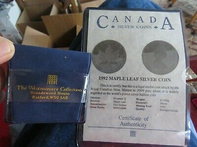 CANADA 1992 Canada $5 Maple Leaf 1oz Argent Pure .9999 Silver Coin