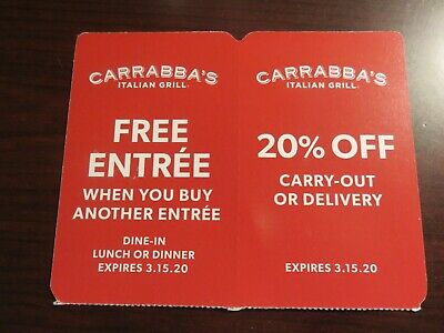 Carrabba's Italian Grill Entree & 20% Off Carry-Out Coupons Expire 3/15/20