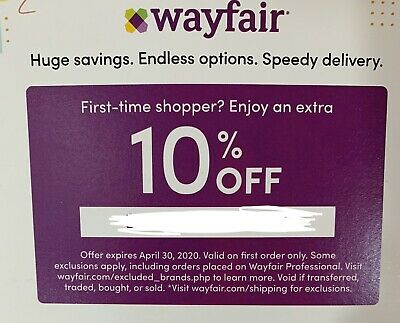 WAYFAIR Coupon Promo Code - Extra 10% Off First Time Order Expires 04/30/2020