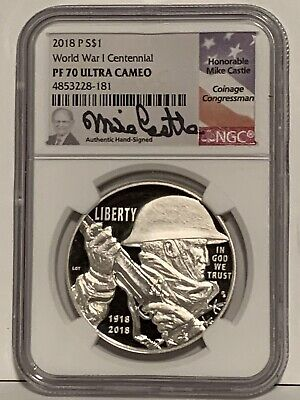 2018 P $1 Silver World War 1 Centennial Proof Dollar NGC PF70 Ultra Cameo