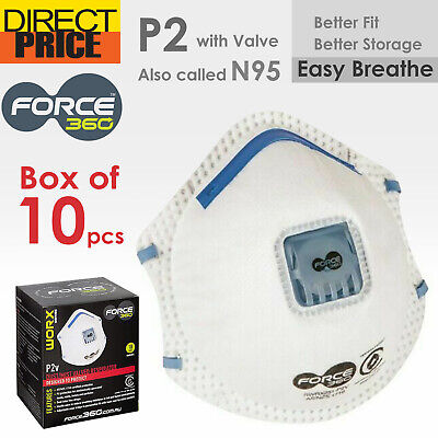 P2 N95 Force360 WORX Face Mask Respirator with valve smoke bush fire disposable