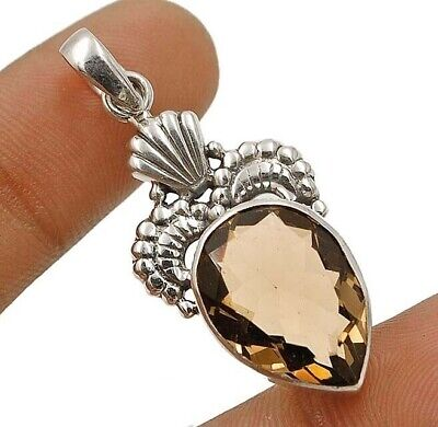 Natural 14CT Smoky Topaz 925 Solid Sterling Silver Pendant Jewelry EA22-4