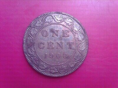 Canada    Large  One  Cent     1908    Feb18