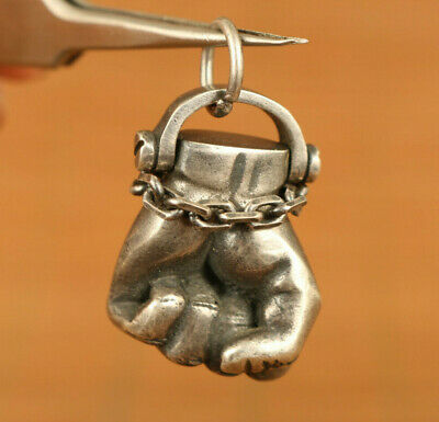 unique Chinese Solid 925 silver cheer fist statue pendant netsuke exquisite