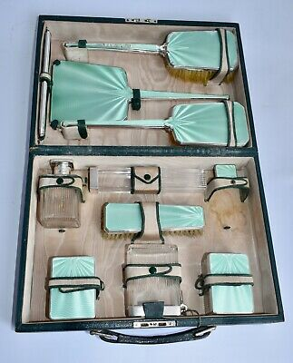 WOW! Cased 11 Piece Sterling Silver & Guilloche Enamel Travelling Vanity Set
