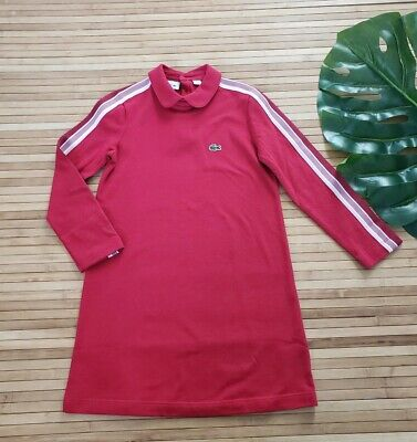 Lacoste Girls Red Long Sleeve Athleisure Pique Polo Dress Size 6