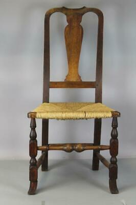 Rare 18Th C Ma Qa Spanish Foot Side Chair In Great Original Grungy Old Patina