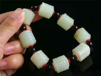 Fine Old Chinese Celadon Nephrite Jade Carved Bracelet Prayer Beads