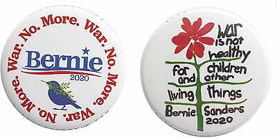 Bernie Sanders Peace Antiwar 2-Pack Campaign 2020 Full-Size 2.25-Inch Buttons Pi
