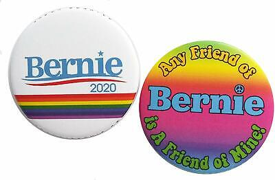 Bernie Sanders Lgbtq 2020 2-Pack Buttons Pins Badges Candidate Rainbow Any Frien