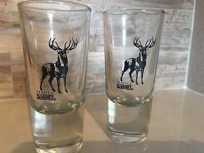 Large Weighted Heavy CAZADORES Tequila Deer Hunter Antler Shot Glass Set