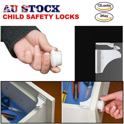 AU 12X Magnetic No Drilling Cabinet Drawer Cupboard Locks Baby Kids Safety Lock