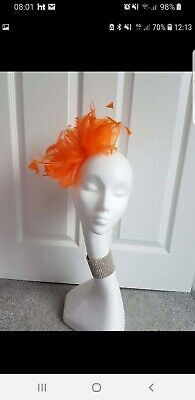 Hollies Fascinators Orange Crin Feathers Races Wedding Comb