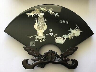 Vintage Tianyu Chinese Resin Fan Ornament With Stand And Box - Peacocks